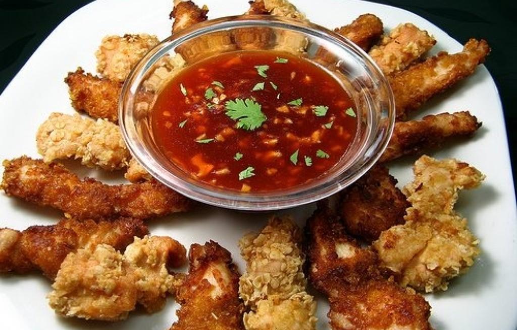 Kurczak z płatkami owsianymi i sosem chińskim