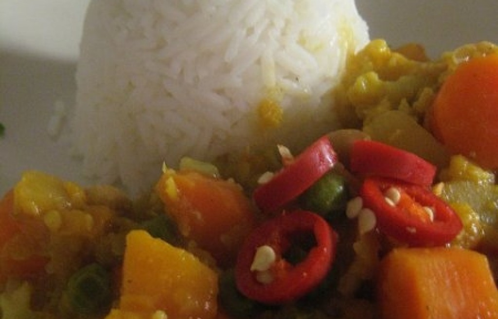 Ryż z dynią, marchewką i papryką