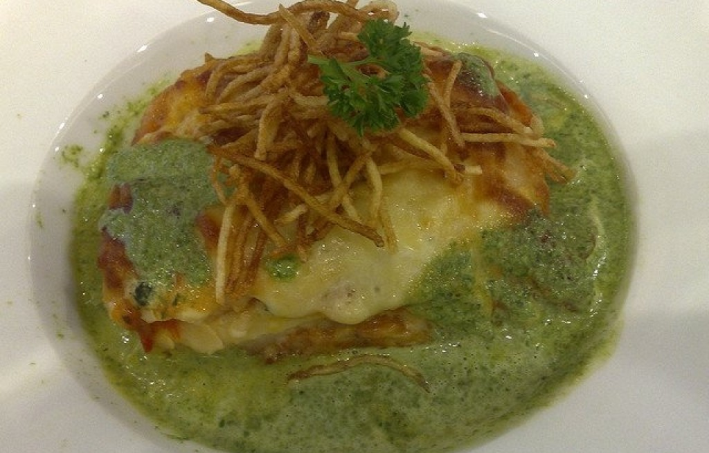 Lasagna z mozzarellą i z zielonym serem