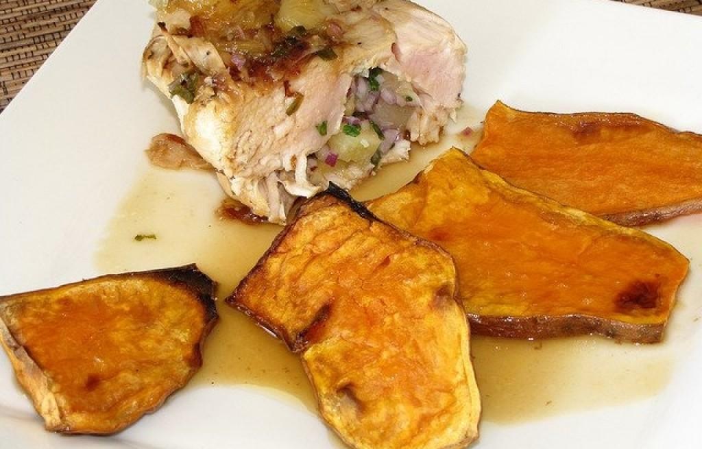 Kurczak z ananasem i batatami