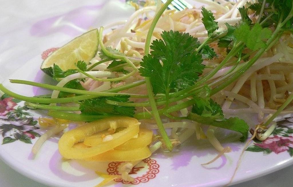 Makaron ryżowy z kiełkami fasoli i kolendrą