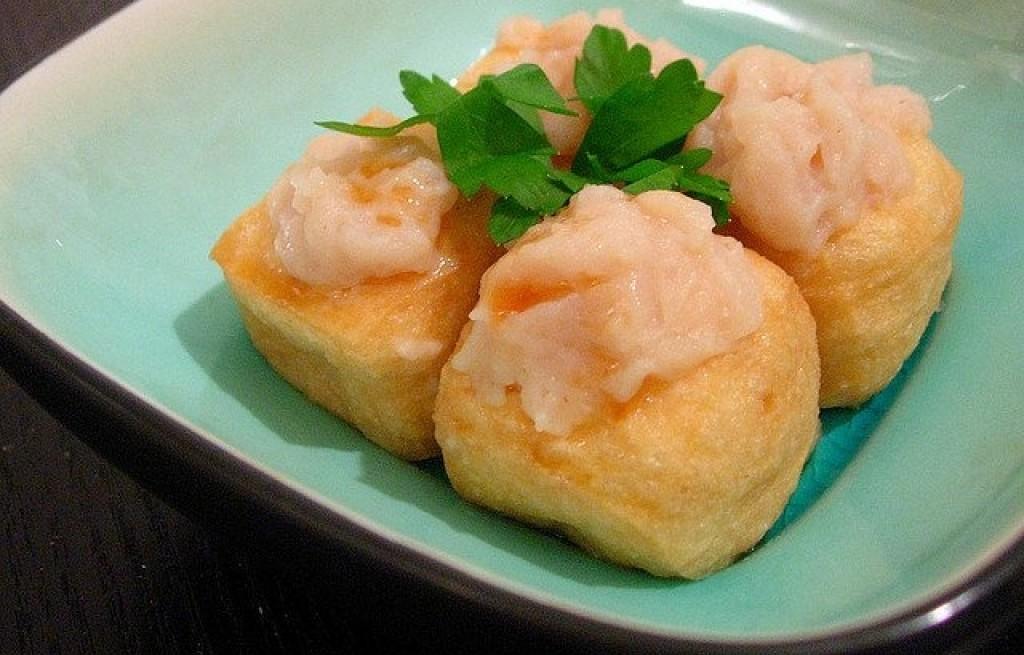 Tofu smażone z serem i łososiem