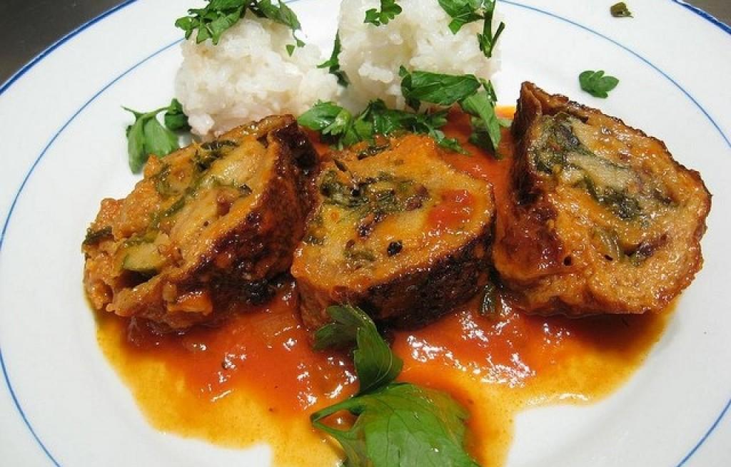 Brokuł zapiekany z mięsem i ryżem