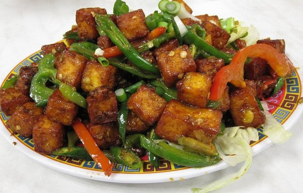 Tofu panierowane z papryką