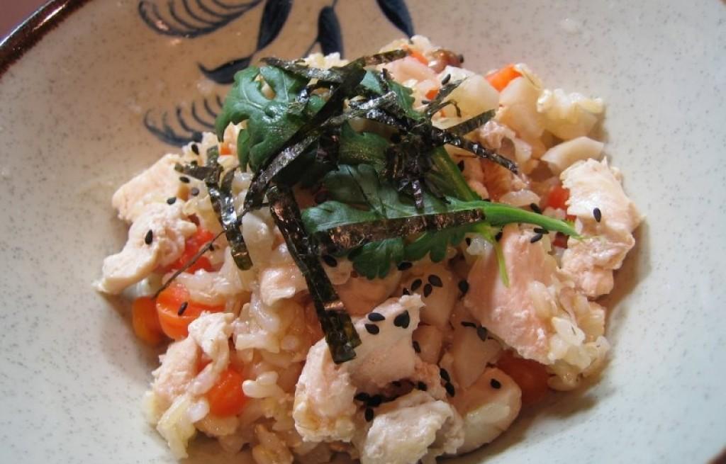 Risotto z kurczakiem, grzybami i nori