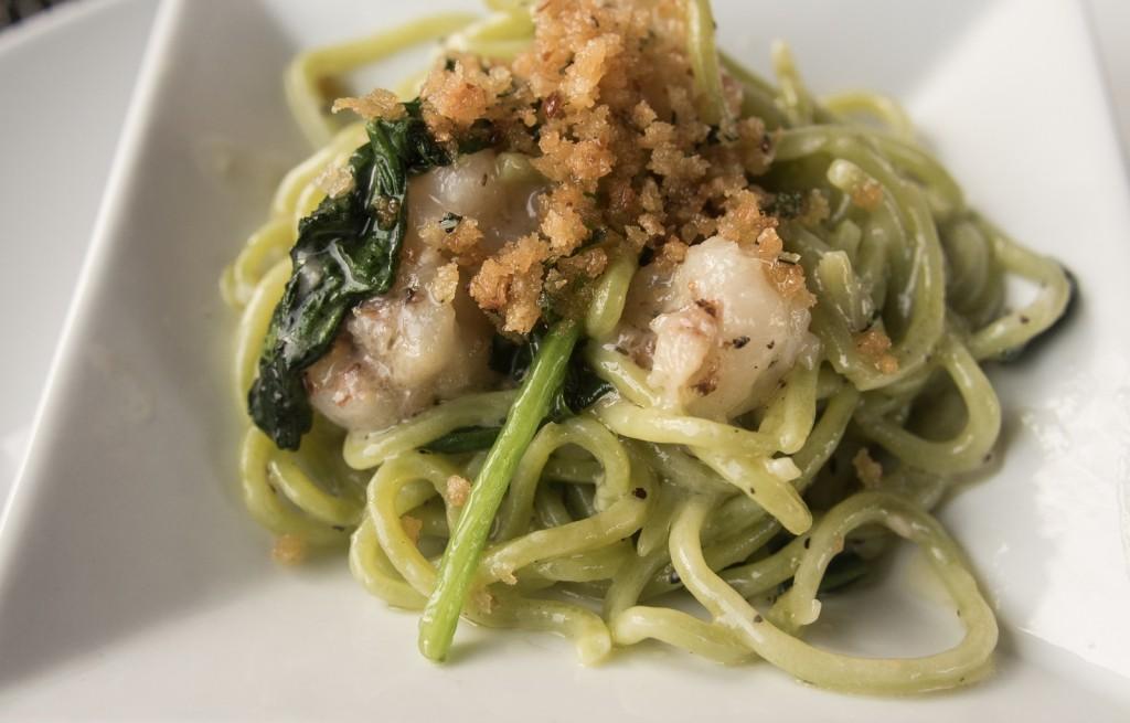 Spaghetti zielone z krewetkami i parmezanem