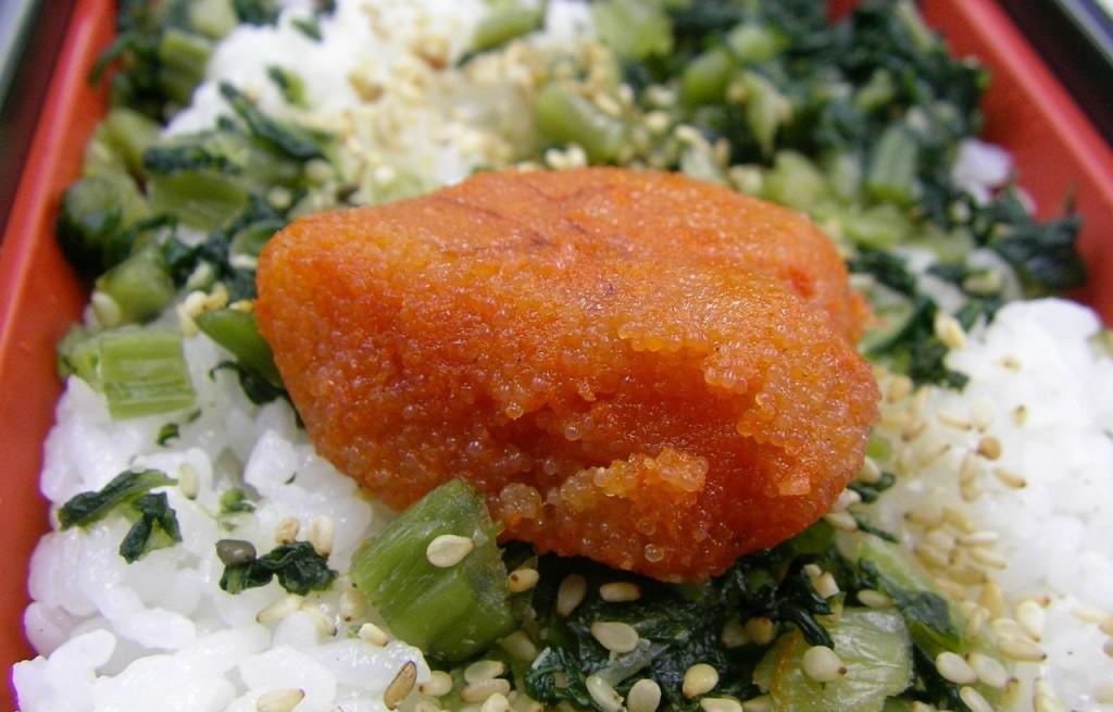 Ryż z selerem, szczypiorkiem i mentaiko