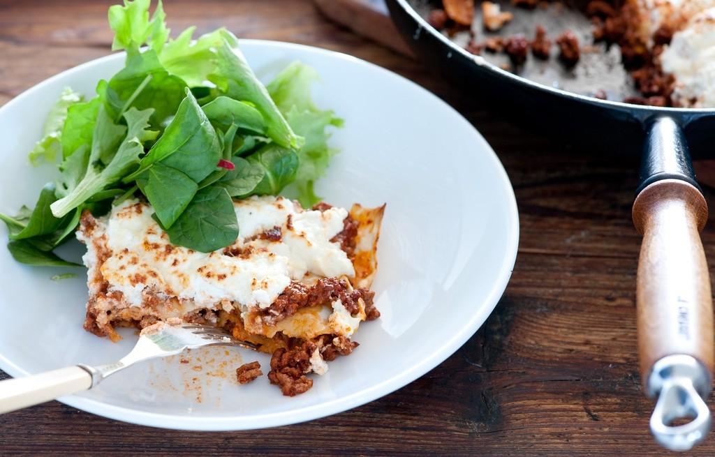 Lasagne z mięsem, serem i szpinakiem