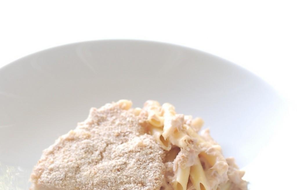 Fondue z makaronem i szynką