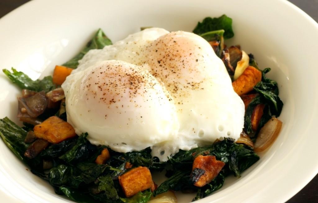 Jajka z dynią i szpinakiem