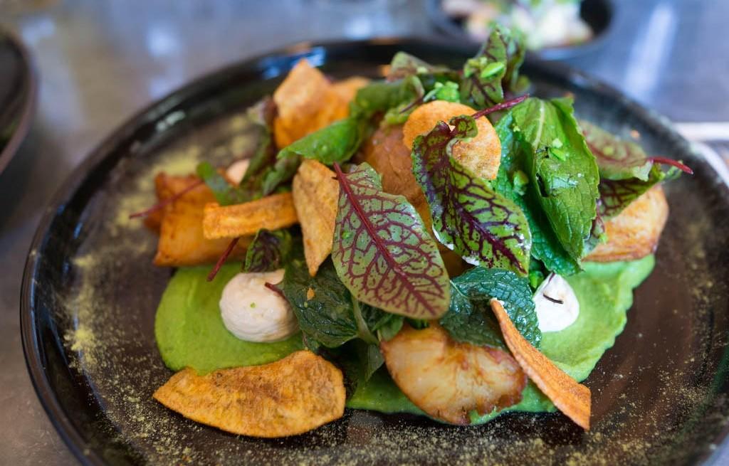Sałatka warzywna z miętą i chipsami