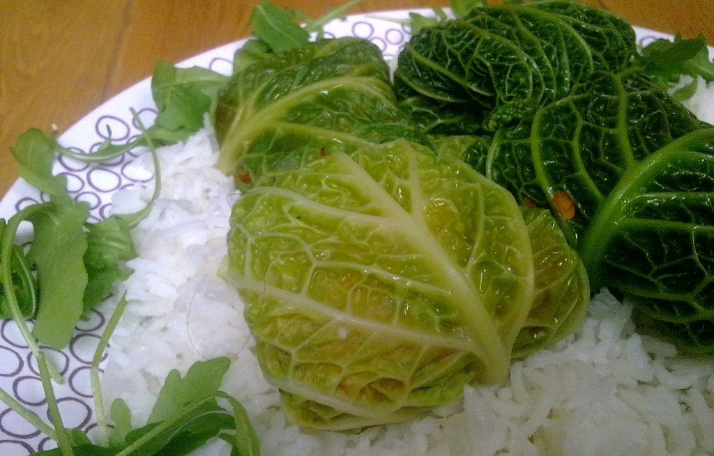 Kurczak zawijany z warzywami i ryżem