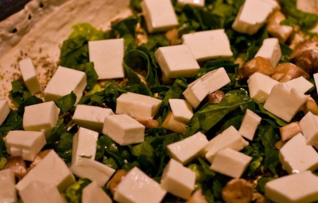 Tofu z porem i szpinakiem